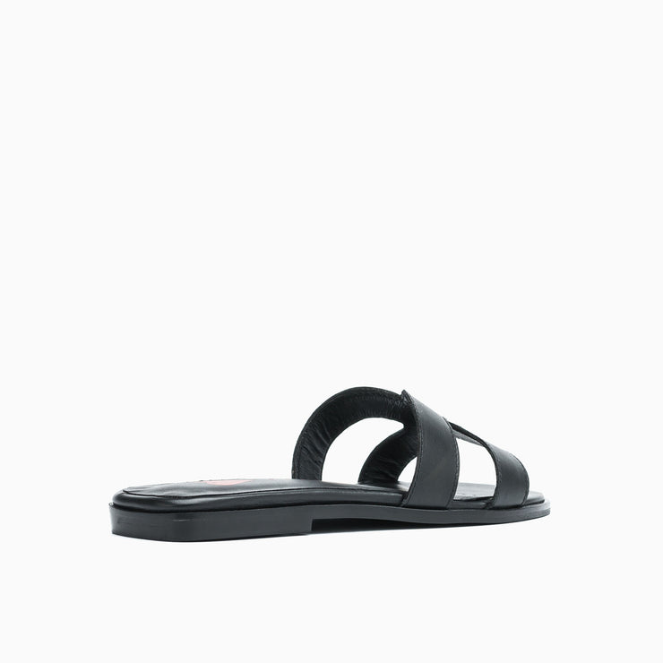Jon Josef Nelly Flat Sandal in Black Leather