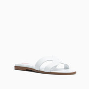 Jon Josef Nelly Flat Sandal in White Leather