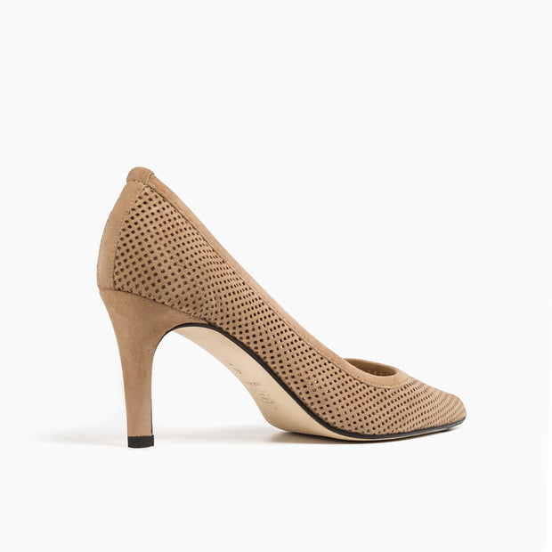 Jon Josef People Pointed Toe Pump in Nude Suede