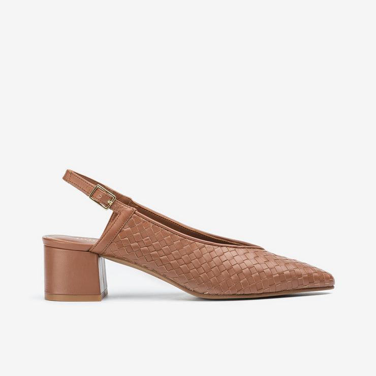 Jon Josef Proto Woven Slingback Pump in Natural Leather