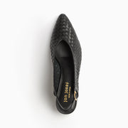 Jon Josef Proto Woven Slingback Pump in Black Leather