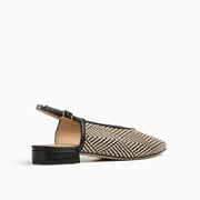 Jon Josef Raya Sling Back Flat in Black/Natural Raffia