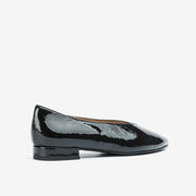 Jon Josef Real Pointed Toe Flat in Black Wrinkle Patent