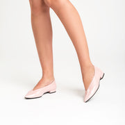 Jon Josef Real Pointed Toe Flat in Pink Wrinkle Patent