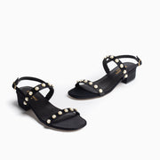 Jon Josef Sawyer Sandal in Black Satin