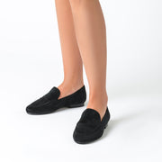Jon Josef Taylor Loafer in Black Split Suede