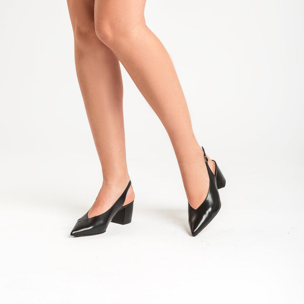 Jon Josef Wanda Slingback Pump in Black Leather