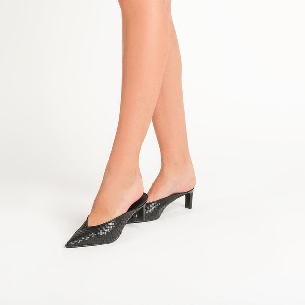 Jon Josef Willa Woven Mule in Black Leather