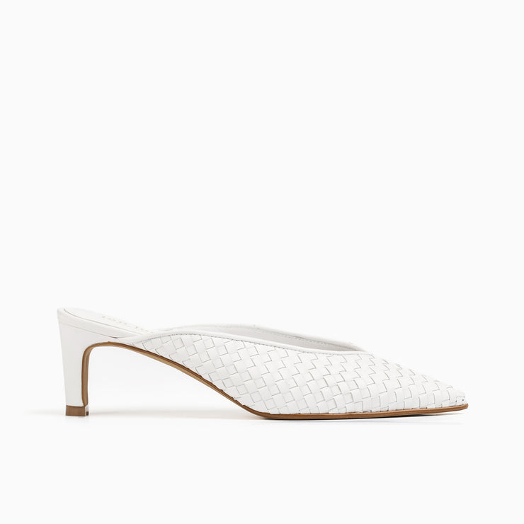 Jon Josef Willa Woven Mule in White Leather