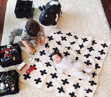 Luxe monochromatic cross print baby child blanket modern print super-soft, warm comfort play area