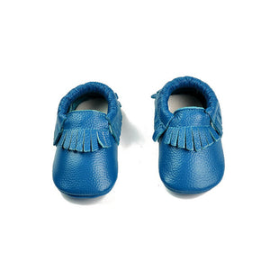 Blue teal real leather baby moccasins with fringe soft children footwear