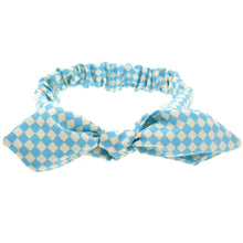 knotted bow headband bunny ears for babies and toddlers checkered aqua adjustable wire bow