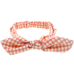 knotted bow headband bunny ears for babies and toddlers checkered peach adjustable wire bow