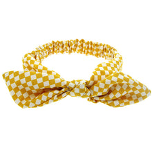 knotted bow headband bunny ears for babies and toddlers checkered mustard yellow adjustable wire bow