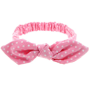 knotted bow headband bunny ears for babies and toddlers chambray pink polka dot adjustable wire bow