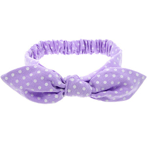 knotted bow headband bunny ears for babies and toddlers chambray purple lilac polka dot adjustable wire bow