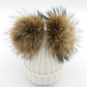 Baby white winter double pom-pom ear hat toque with mink fur wool blend removable pom-poms