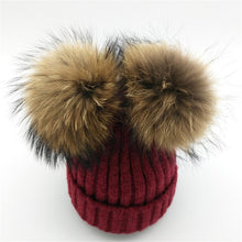 Baby burgundy winter double pom-pom ear hat toque with mink fur wool blend removable pom-poms