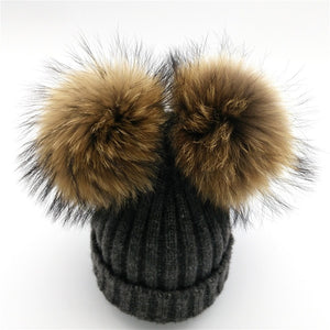 Baby grey winter double pom-pom ear hat toque with mink fur wool blend removable pom-poms