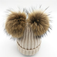 Baby ivory off-white winter double pom-pom ear hat toque with mink fur wool blend removable pom-poms