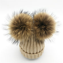 Baby oatmeal tan winter double pom-pom ear hat toque with mink fur wool blend removable pom-poms