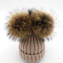 Baby camel tan winter double pom-pom ear hat toque with mink fur wool blend removable pom-poms