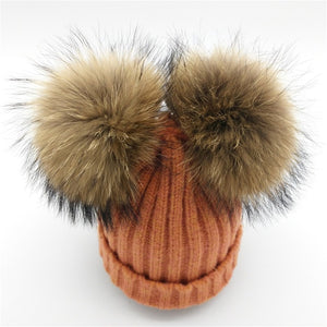 Baby orange winter double pom-pom ear hat toque with mink fur wool blend removable pom-poms
