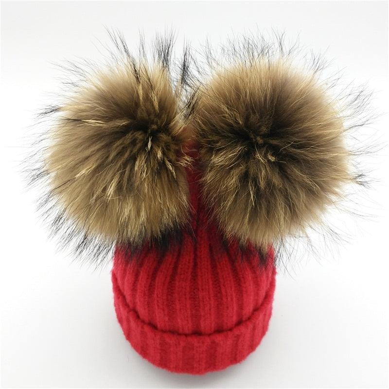9632f418583 ... Baby red winter double pom-pom ear hat toque with mink fur wool blend  removable ...
