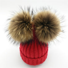 Baby red winter double pom-pom ear hat toque with mink fur wool blend removable pom-poms