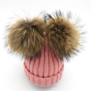 Baby pink tweed winter double pom-pom ear hat toque with mink fur wool blend removable pom-poms