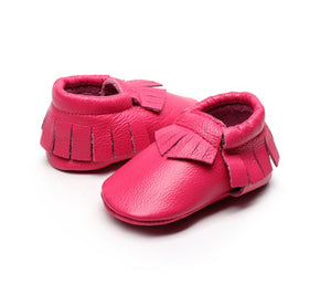 Fuchsia real leather baby moccasins with fringe soft children footwear