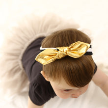 Stripe and gold colour baby headband sophisticated monochromatic bow kids accessories