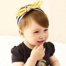 Stripe and gold colour baby headband modern black white sophisticated monochromatic bow kids accessories