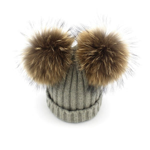 Baby heather grey winter double pom-pom ear hat toque with mink fur wool blend removable pom-poms