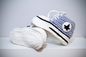 High top baby shoes with laces crochet handmade knit grey bootie sport shoes runners basketball shoes