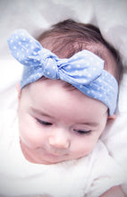 knotted bow headband bunny ears for babies and toddlers chambray blue polka dot adjustable wire bow