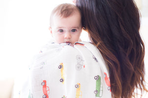 Modern, super soft, breathable cotton/bamboo muslin baby swaddle with transportation print cute baby