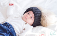 Baby black winter double pom-pom ear hat toque with mink fur wool blend removable pom-poms winter outfit