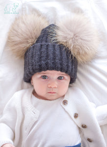 Cute baby black winter double pom-pom ear hat toque with mink fur wool blend removable pom-poms