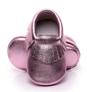 Metallic pink real leather baby moccasins with fringe soft children footwear