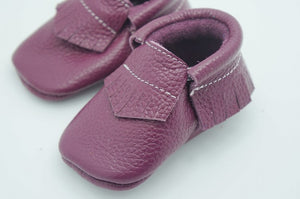 Purple real leather baby moccasins with fringe soft children footwear