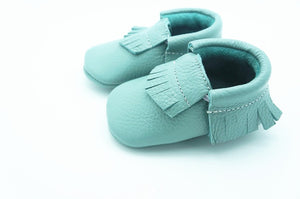 Aqua green real leather baby moccasins with fringe soft children footwear
