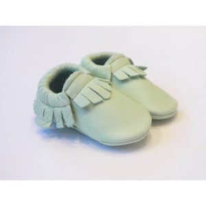 Mint real leather baby moccasins with fringe soft children footwear