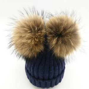 Baby navy winter double pom-pom ear hat toque with mink fur wool blend removable pom-poms