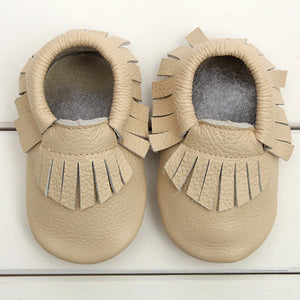 Tan off-white real leather baby moccasins with fringe soft children footwear