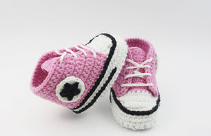 High top baby shoes with laces crochet handmade knit pink bootie sport shoes runners basketball shoes