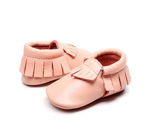 Pink real leather baby moccasins with fringe soft children footwear