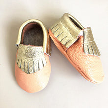 Metallic gold and peach real leather baby moccasins with fringe soft children footwear