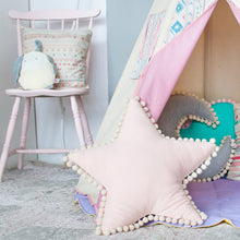 Whimsical, delicate pom-pom trim soft pastel pink colour star shaped pillow child's pillow collection cozy, comfy nursery decor accent cushion teepee decor