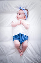 knotted bow headband bunny ears for babies and toddlers chambray blue polka dot adjustable wire bow cute baby outfit summer